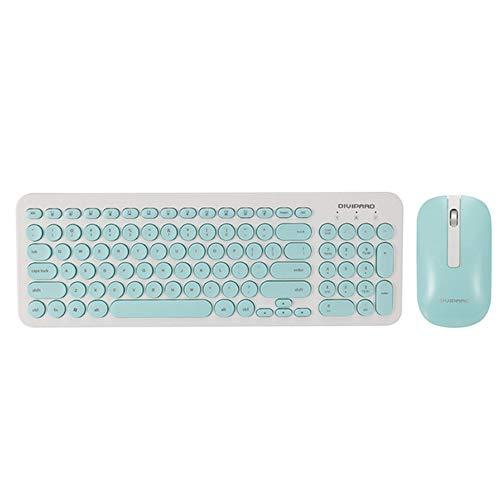 XYQ 2.4G draadloze mute muis toetsenbord combinatie ronde knop toetsenbord Gaming muis voor Macbook Lenovo Dell Asus HP Laptop * roze/blauw/Zwart, Blauw