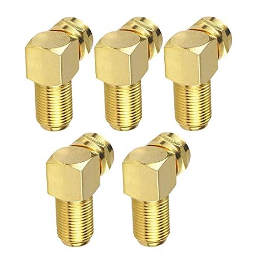Adaptador de cable Conector de ángulo F para cable de antena conversión chapada en oro coaxial de oro 5pcs duraderos
