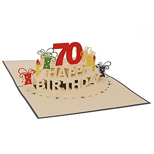 Favour Pop Up Glückwunschkarte zum runden 70. Geburtstag. Ein filigranes Kunstwerk, das sich beim Öffnen als Geburtstagstorte entfaltet. TA70B