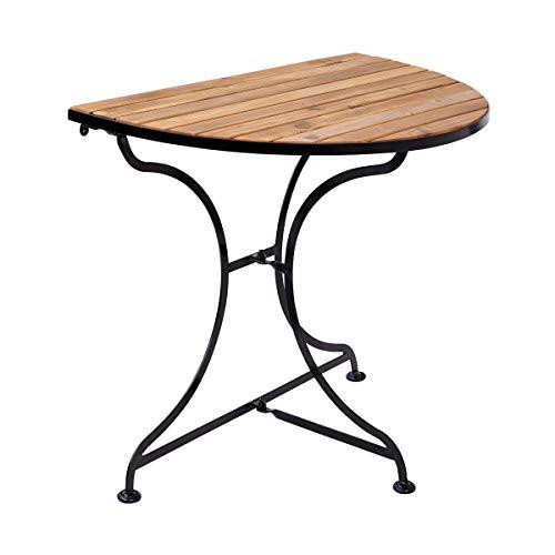 Butlers Parklife Balkon-Klapptisch halbrund aus Holz 85x55x75 cm - Tisch aus FSC-Akazienholz und Metall schwarz verzinkt