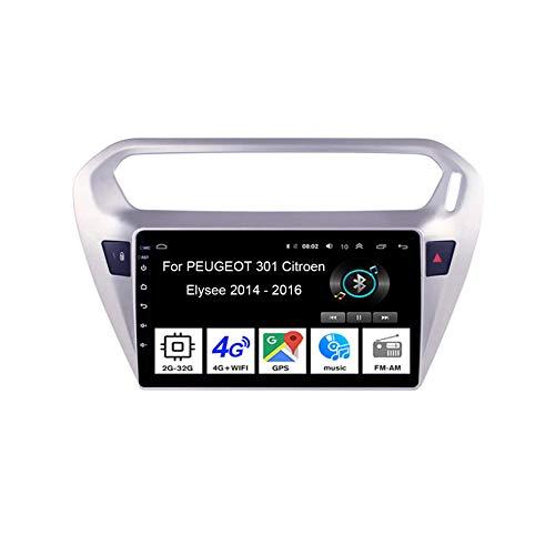 Android Autoradio 9 Pulgadas Coche Radio De Coche Pantalla Tactil para Peugeot 301 Citroen Elysee 2014-2016 4 Cores 2G+32G para De Coche Conecta Y Reproduce Autoradio Mit Bluetooth