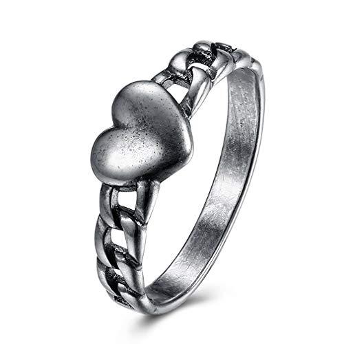 HehiFRlark Corazón Trenzado Anillo Unisex Anillos de Compromiso Anillo de Boda Hombre Mujer Joyería Plata VSR0047-S-7 Corazón Trenzado 7