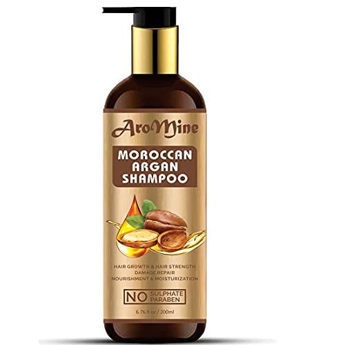 Glamorous Hub Aromine - Champú para el cabello de argán marroquí con aceite de argán orgánico (sin sulfato ni parabeno), 200 ml