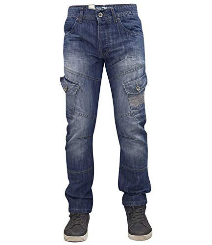 Designer-Hose für Herren von Crosshatch, sandgestrahlt, geknöpfter Hosenschlitz, Cargo-Jeans, normale Passform Gr. 30 W/30 L, Stone Wash