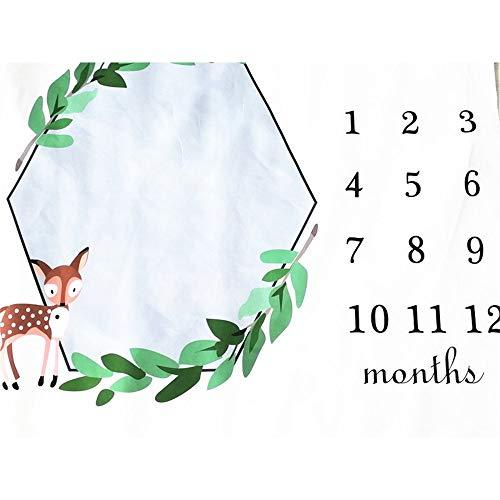 Milestone deken, voor pasgeborenen, deken, groene bladen, slinger met comic-motief, maand-groei, foto, douchemats, voor meisjes en jongens