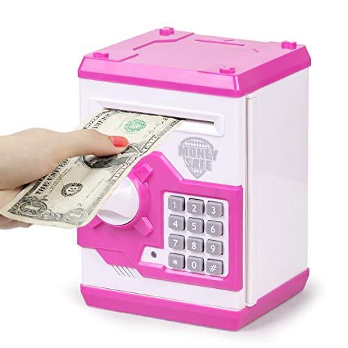 Highttoy Kinder Geld sicher Spielzeug für Mädchen Jungen,Geburtstagsgeschenke für 6-15 Jahre altes Mädchen Junge Münzen Banken ATM Bank Maschine Sparschwein mit Code für Kinder im Alter von 8-12 Lila
