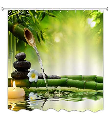 A.Monamour Cortina de Ducha Antimoho Impermeable Lavable Tela Piedras De SPA De Agua De Bambú Verde Zen Poliéster Cortinas de Baño con Ganchos 150x180 cm
