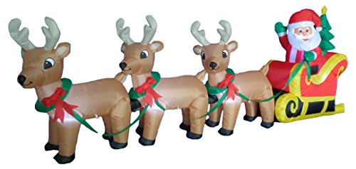 BZB Goods 8 Foot Long Christmas Inflatable Santa on Sleigh with 3 Reindeer and Christmas Tree Yard Decoration