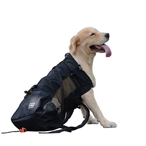 OMEM Mochila para Perro Mascota Transpirable y Cómoda para Senderismo Bolsa Deportiva de Viaje (M,Negro)