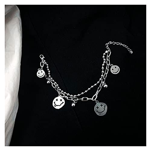 aolongwl Pulsera Mujer Doble Capas Smile Face Charms Funny Beads Acero Mujeres Hombres Joyería