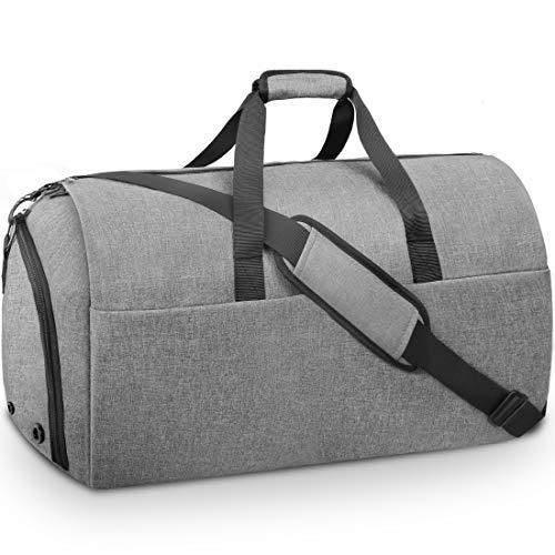 Anzugtasche Kleidersack Herren Reisetasche Anzugsack mit Schuhfach Wasserdicht Groß Business Anzug Weekender Garment Bag für Männer Damen Grau 55L