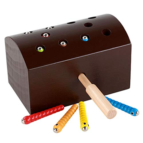 jieGorge Wooden Magnetic Catch Insektenwurm Spiel Baby Colors Lernen Lernspielzeug, Lernspielzeug, Spielzeug und Hobbys für Ostertag (B)