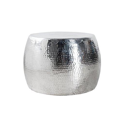 Invicta Interior Design Couchtisch Orient 60cm hochwertige Nickel-Aluminiummetall Legierung silberfarbig Hammerschlag Optik
