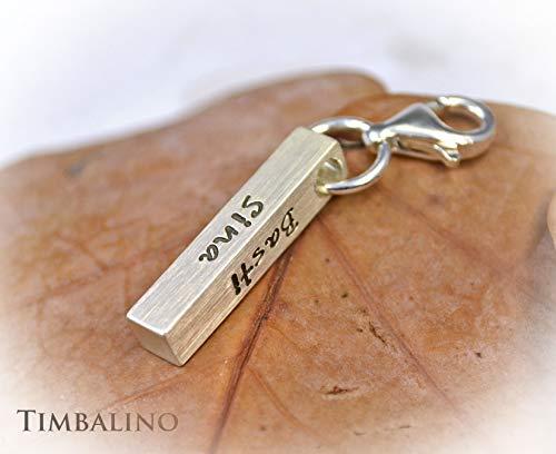 Schlüsselanhänger aus Silber mit Gravur Barrenanhänger mit Namen Geschenk für Ihn