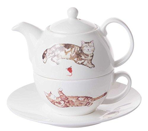 Roy Kirkham Katten Thee voor een theepot, beker en schotel