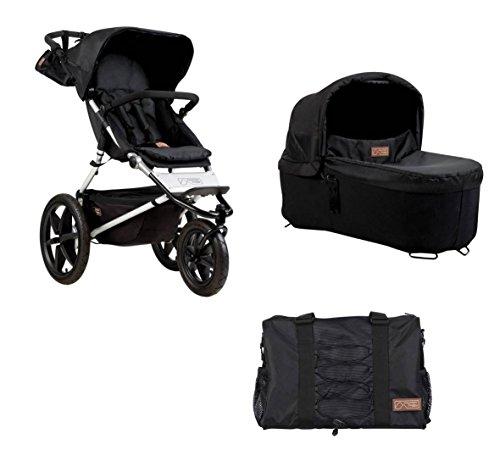 Mountain Buggy Terrain 3 + Carrycot + Wickeltasche in onyx, Kinderwagen + Babyschale + Wickeltasche