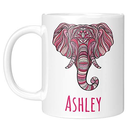 Elephant Gifts - PersonalizedCeramic Elephant Coffee Mug w Name - Regalos de Navidad para mujeres, ninos - Cute Elephant Tea Cup - Tazas Personalizadas - Gifts Ideas For Sister