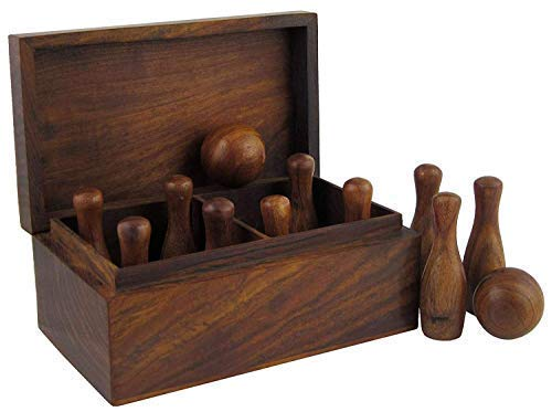 Wooden Bowling Mini Game 12 Bottle 2 Boll The Great Game for Kids / Manufacturing by Arts Beauty Handicrafts Dimension: Length 6 inch Width 3.5 inch Height 3 inch.
