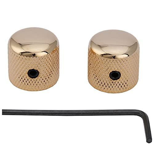 Musiclily Pro 6mm Acero Botones de Potenciometro Dome Knobs Perillas con Entornillable para Guitarra Eléctrica Telecaster o Precision Bass, Dorado (2 Piezas)