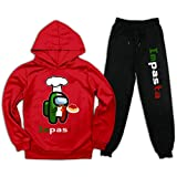 Buwict Among Us Pullover Hoodie and Sweatpants Suit for Boys Girls 2 Piece Outfit Fashion Sweatshirt Set M