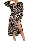 Eledobby Vestidos con Hendidura para Mujer Estampado de Leopardo Sexy Cuello En V Vestido Asimétrico Envolventes de Manga Larga Ropa Informal de Primavera y Verano para Fiesta Playa Marrón S