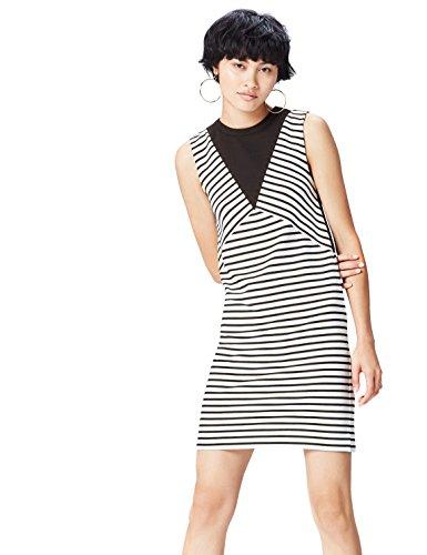 find. Kleid Damen ärmellos mit Streifenmuster, Schwarz (Black/white Striped), 38 (Herstellergröße: Medium)