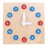 Backbayia - Juguetes de matemáticas con bloques de geometría de madera, tiempo de reloj, juguetes educativos Montessori