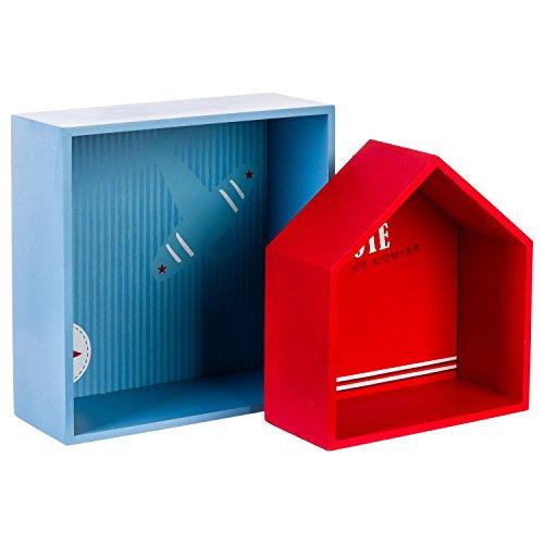AC-Déco Etagères - Lot de 2 - Pilotes - Rouge et Bleu