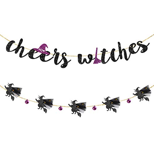 Halloween Garland Kit Black Purple Cheers Witches Garland and Flying Witches with 3D Tulle Cloak and Bell Banner for Happy Halloween Birthday Bachelorette Engagement Hen Party Decorations Supplies