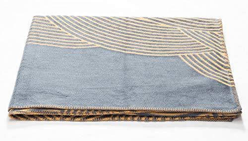 David Fussenegger - Decke - Plaid - Kuscheldecke - Deco - Gebogene Linien - Gold-Grau - 130 x 200 cm