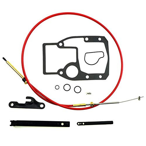Shift Cable Assembly Kit Fit for OMC Cobra 1986-1993, Adjustment Tools Mounting Gasket Set Fit for OMC Cobra 987661 Sierra 18-2245 Replacement for 21715 27-00475 Automotive Starter Parts Repair Kits