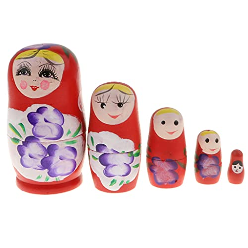 F Fityle Chica Babushka Matryoshka Muñeca Rusa de Anidación Juguetes de Madera Decoración para El Hogar Regalo 5/6 Piezas - Rojo