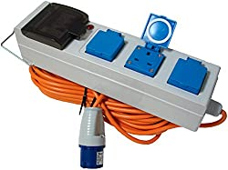 Lids opening on the side, ideal for large plugs and adaptors 230V 10A capacity RCD protection 3x 13amp British sockets Safe mains electricity supply whilst camping or caravanning & RCD protection