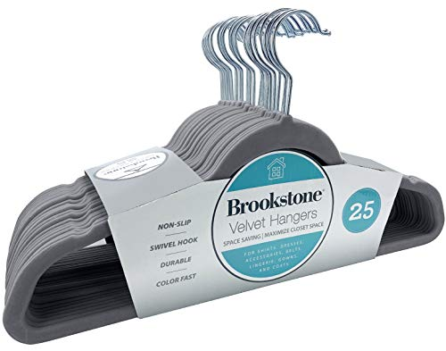 Brookstone BKH1125 Non-Slip 360° Swivel Hook Lightweight Slim Strong Durable Space Saving Design Heavy Duty Won't Stain Fabric 25 Pack Velvet HangersGray