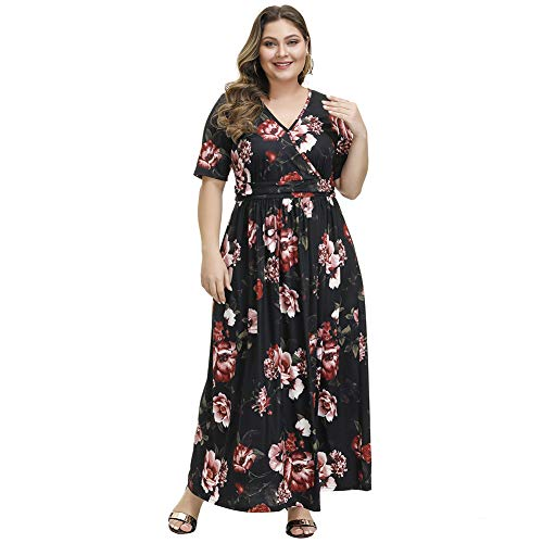 Love is Lovely Women's Plus Size Wrap V-Neck Short Sleeves Floral Print Casual Maxi Dress for Cocktail Party Christmas Black
