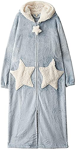 Pijamas Camisón para Mujer Largo Grueso Coral Fleece Albornoces Sueltos Pijamas para Otoño Invierno Encaje Traje, azul, L
