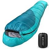 Bessport Momia Saco de Dormir Ligero de con Saco de Compresión, para Las 3-4 Estaciones, Sacos de Dormir Compactos para Adultos, para el Camping, Festivales, Senderismo y Trekking-Green&Blue