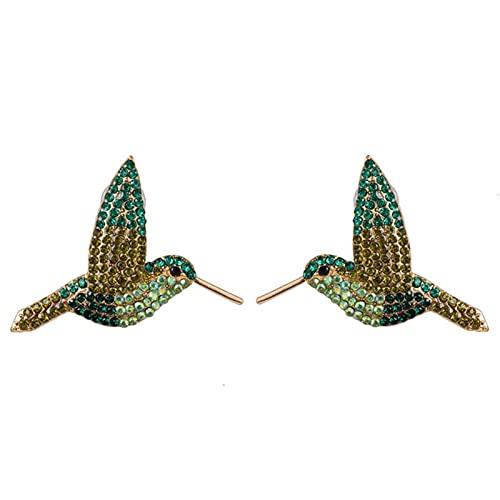 SALAN Pendientes De Gota De Pájaro Loro Animal De Moda Lindo Bohemio para Mujer Pendientes De Borla De Declaración con Flecos Brillantes De Diamantes De Imitación Joyería
