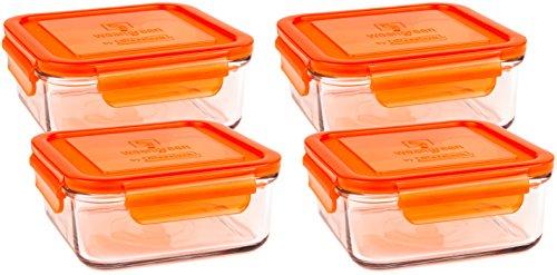 Wean Green Cubes (Klauenhammer)–Umweltfreundlich BPA frei Robustes Glas Food Container Carrot - 4 Pack