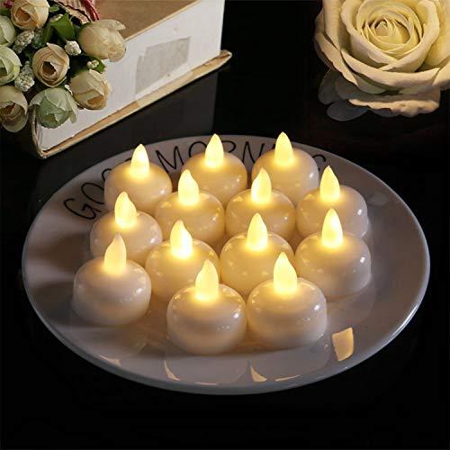12er set LED schwimmende Kerzen,Bainuojia Schwimmenkerzen LED Teelichter Wasserdichter Flammenlose Kerzen für Pool Badewanne Teich Party und Hochzeit,Flackernd Warmweiß