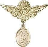 14kt Gold Baby Badge with St. Peregrine Laziosi Charm and Angel w/Wings Badge Pin St. Peregrine Laziosi is the Patron Saint of Cancer/Running Sores 1 1/8 X 1 1/8