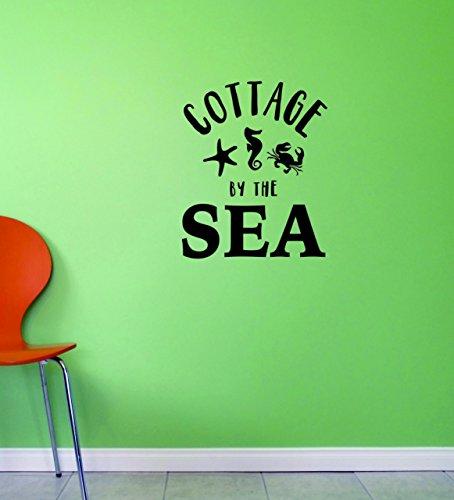 Motif Vinyle Avec 2 recharges de 2012 2 Hot nouveaux autocollants Cottage par la mer Art mural Taille : 35,6 x 71,1 cm Couleur, 35,6 x 71,1 cm, Noir