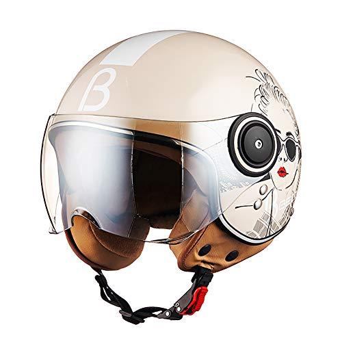 LALEO Persönlichkeit Coole Mädchen Vintage Harley Offenes Motorradhelm, Atmungsaktiv Warm Vier Jahreszeiten Erwachsene Männer Frauen Jet-Helm Halbhelme ECE Genehmigt M-XL (54-60cm),Beige,M