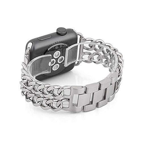 LANGY roestvrij stalen armband voor Apple Watch 5 4 40 mm 44 mm armband, geschikt voor Iwatch Series 3 2 38 mm 42 mm armband, for 38 MM, zilver