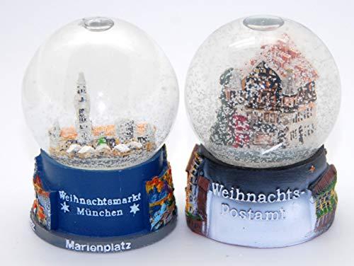 Minium Collection 3-21-53 2 süße Souvenirkugeln Deutscher Weihnachtsmarkt München 65mm Durchmesser mit Luftblase