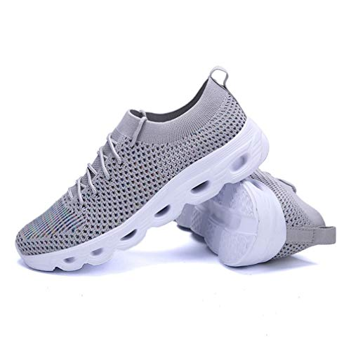 Mujeres Casual Sneakers Moda Sólido Color Transpirable Tejiendo Malla Encaje Up Low Top Light Soft Bottom Primavera Verano Damas Zapatos de Running