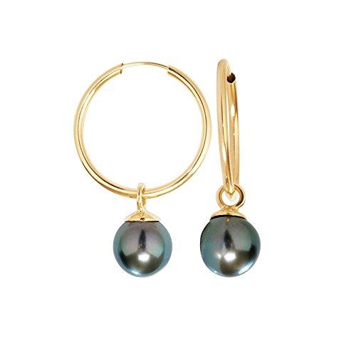 Pendientes de perlas de Tahiti y Oro amarillo 750/1000 - BPS K358 W - Blue Pearls
