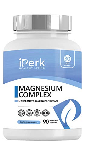 Magnesium Complex Blend of Magnesium L THREONATE, GLYCINATE ,TAURATE Made in The UK. Well Absorbed. Gluten Free. 90 Capsules. Vegan