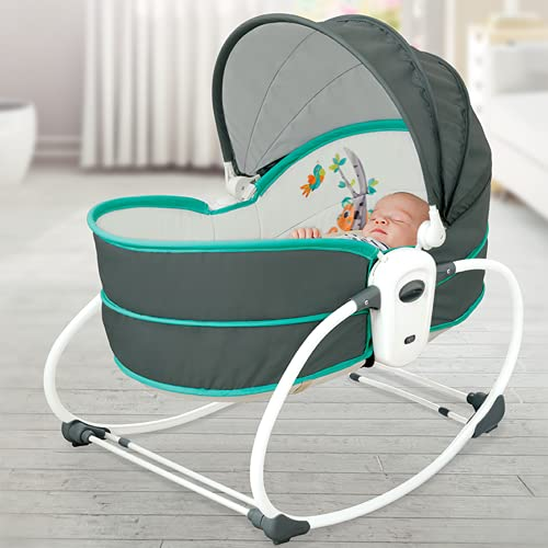 Innotic Baby Swing Newborn Bouncer Rocker Cradle Foldable Baby Crib with A Mosquito Net, Infant Seat Portable Chair with Soothing Music