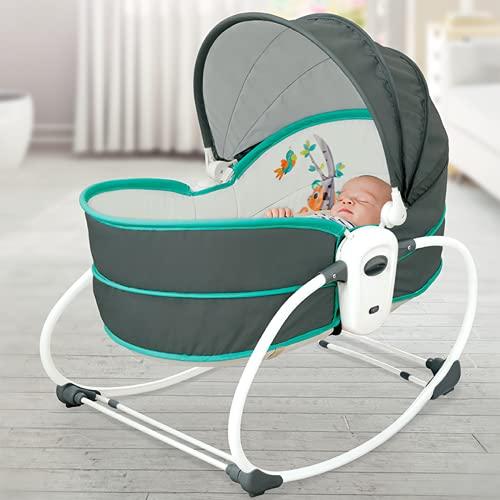 Innotic Babyschaukel Neugeborene Wippe Wiege Faltbare Babybett mit Moskitonetz und Spielzeugstange, Säuglingssitz Tragbarer Stuhl mit beruhigender Musik
